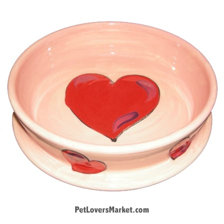 Hearts Dog Bowl. Part of Collection of Ceramic Dog Bowls; Designer Dog Bowls; Cute Dog Bowls. Dog Bowls are Made in USA. Hand-painted. Lead Free. Microwave Safe. Dishwasher Safe. Food Safe. Pet Safe.