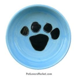 Blue with Black Paw Print. Part of Collection of Ceramic Dog Bowls; Designer Dog Bowls; Cute Dog Bowls. Dog Bowls are Made in USA. Hand-painted. Lead Free. Microwave Safe. Dishwasher Safe. Food Safe. Pet Safe.
