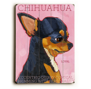 Dog Painting: Chihuahua. Chihuahua Pictures. Dog Sign. Wooden Sign. Dog Print. Black Chihuahua.