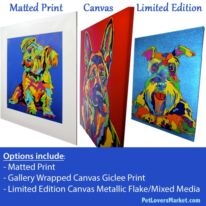 Dog Portraits and Dog Paintings by Michael Vistia. Canvas prints and matted prints for sale.
