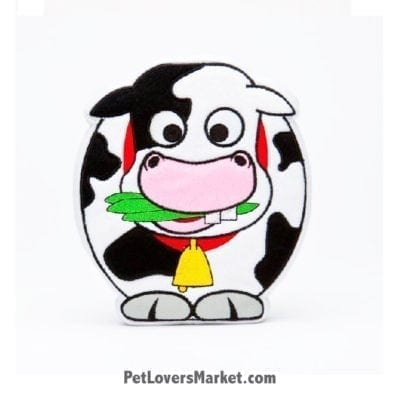 Dog Squeaky Toy: Moodles the Cow PrideBites dog toy.
