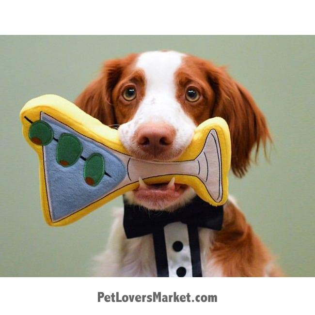 Dog Squeaky Toy: Martini PrideBites dog toy.