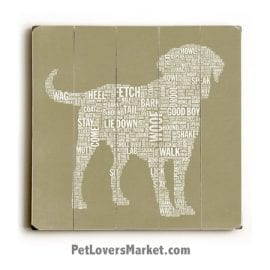Dog Typography (Good Dog). Dog Art, Wooden Sign, Dog Signs, Dog Prints, Wall Art.