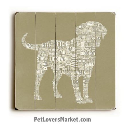 Dog Typography (Good Dog). Dog Art, Wooden Sign, Dog Signs, Dog Prints, Wall Art.