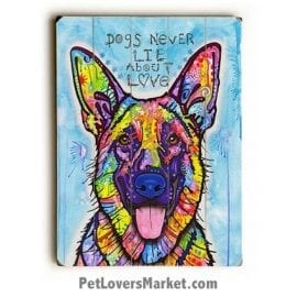 "Dog Art by Dean Russo: ""Dogs Never Lie About Love"". Dog Print / Dog Painting by Dean Russo."