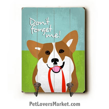 Wall Hooks for Dog Lovers: Don't Forget Me. Use as coat hooks, wall mounted coat rack, key holder, key rack, leash holder, gifts for dog lovers.