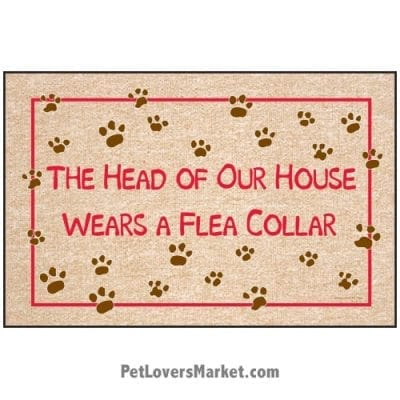 """Funny doormats / dog placemats: """"The Head of Our House Wears a Flea Collar"""". Add funny doormats and dog placemats to your dog home decor! Our dog placemats and funny doormats feature funny dog quotes and dog pictures."""