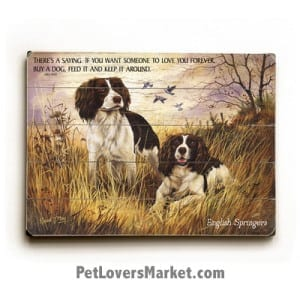 """Springer Spaniel Pictures - Dog Painting of English Springer Spaniels. """"There's a saying. If you want someone to love you forever, buy a dog, feed it and keep it around."""" - Dick Dale (famous dog quotes). Dog Art, Dog Print, Wooden Sign, Wall Art."""