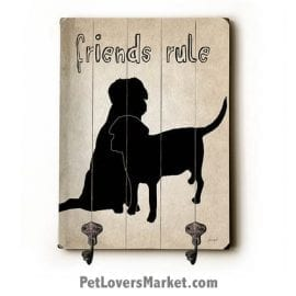 Wall Hooks for Dog Lovers: Friends Rule. Use as coat hooks, wall mounted coat rack, key holder, key rack, leash holder, gifts for dog lovers.