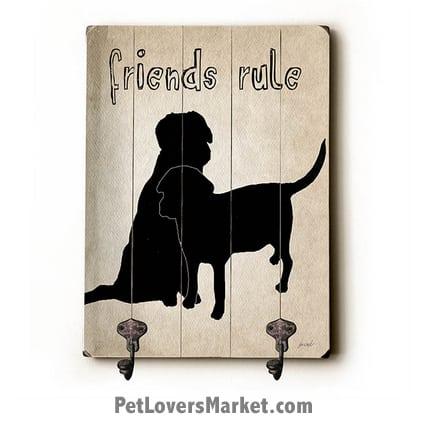 Wall Hooks for Dog Lovers: Friends Rule. Use as coat hooks, wall mounted coat rack, key holder, key rack, leash holder, gifts for dog lovers.