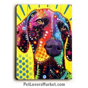 German Short-Haired Pointer by Dean Russo. Dog Print / Dog Sign / Dog Art Featuring German Short-Haired Pointer Dog Breed. Dean Russo Art. Wooden Sign.
