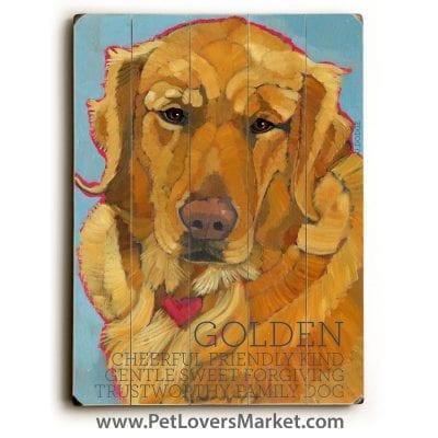 Dog Print on Wood: Golden Retriever