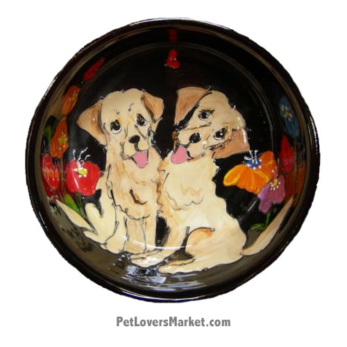 Golden Retriever Dog Bowl (Double Dobbers). Ceramic Dog Bowls; Designer Dog Bowls; Cute Dog Bowls. Dog Bowls are Made in USA. Hand-painted. Lead Free. Microwave Safe. Dishwasher Safe. Food Safe. Pet Safe. Design features Golden Retriever dog breed.