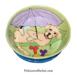 Golden Retriever Dog Bowl (Goldy's Beach Break). Ceramic Dog Bowls; Designer Dog Bowls; Cute Dog Bowls. Dog Bowls are Made in USA. Hand-painted. Lead Free. Microwave Safe. Dishwasher Safe. Food Safe. Pet Safe. Design features Golden Retriever dog breed.
