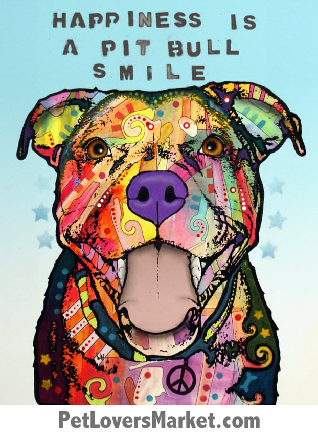 Happiness is a Pitbull Smile. Dog art by Dean Russo. Dog signs with dog quotes. Dog art, dog print, dog sign, wooden sign.