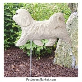 Havanese (White) Yard Sign / Garden Stake. Garden Accents and Gifts for Dog Lovers. Perfect for Home and Garden Decor. Part of our collection of yard signs and garden accents -- with dog breeds. Also use for outdoor accents, unique garden statues, garden statues online, best garden decor, garden stake decor, decorative garden stake, outdoor home accents, unique garden decor, outdoor home decor. Features Havanese dog breed.