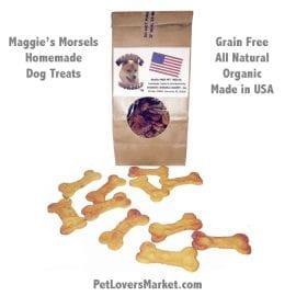 Homemade Dog Treats: Maggie's Morsels (Bones). Gourmet dog treats. Organic dog treats. Grain free, all natural, no preservatives. Healthy dog snack. Homemade. Bone-shaped.