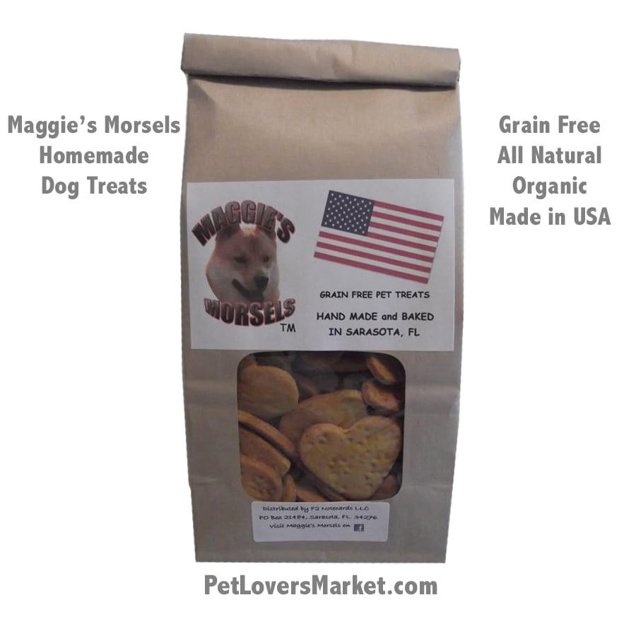 Homemade Dog Treats: Maggie's Morsels (Hearts). Gourmet dog treats. Organic dog treats. Grain free, all natural, no preservatives. Healthy dog snack. Homemade. Bone-shaped.