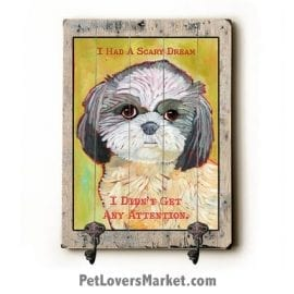 """Wall Hooks for Dog Lovers: """"I had a scary dream. I didn't get any attention"""". Use as coat hooks, wall mounted coat rack, key holder, key rack, leash holder, gifts for dog lovers, funny dog signs."""