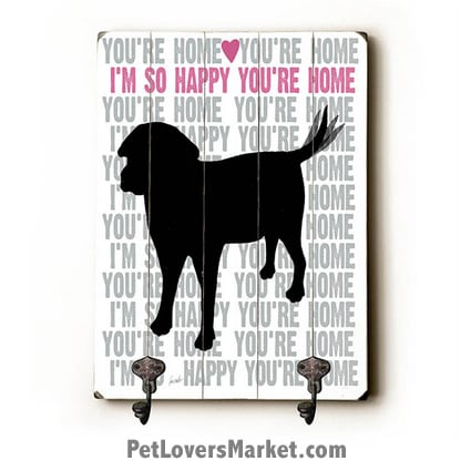 "Wall Hooks for Dog Lovers: ""I'm so happy you're home"". Use as coat hooks, wall mounted coat rack, key holder, key rack, leash holder, gifts for dog lovers."