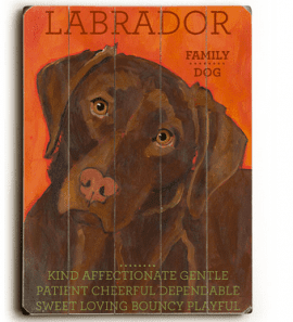 Labrador (Brown Lab) - Dog signs with Dog Breeds. Gifts for Dog Lovers. Wooden sign.