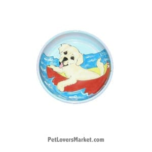 Yellow Labrador Dog Bowl (Labber Dabbles). Ceramic Dog Bowls; Designer Dog Bowls; Cute Dog Bowls. Dog Bowls are Made in USA. Hand-painted. Lead Free. Microwave Safe. Dishwasher Safe. Food Safe. Pet Safe. Design features Yellow Labrador dog breed.
