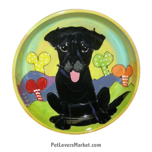 Black Labrador Dog Bowl (Quintin Coalboy). Ceramic Dog Bowls; Designer Dog Bowls; Cute Dog Bowls. Dog Bowls are Made in USA. Hand-painted. Lead Free. Microwave Safe. Dishwasher Safe. Food Safe. Pet Safe. Design features Black Labrador dog breed.