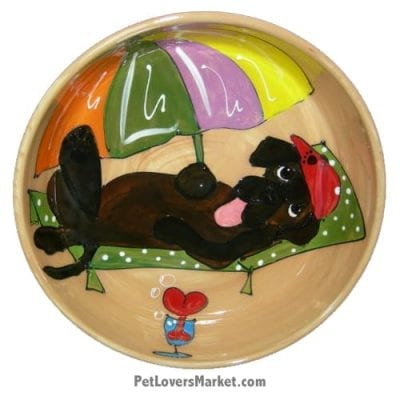 Chocolate Labrador Dog Bowl (Raisin Crispin). Ceramic Dog Bowls; Designer Dog Bowls; Cute Dog Bowls. Dog Bowls are Made in USA. Hand-painted. Lead Free. Microwave Safe. Dishwasher Safe. Food Safe. Pet Safe. Design features Chocolate Labrador dog breed.