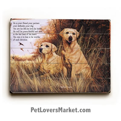 "Labrador Retrievers (Yellow Labs) - Dog Picture, Dog Print, Dog Art. ""He is your friend, your partner, your defender, your dog. You are his life, his love, his leader. He will be yours, faithful and true, to the last beat of his heart."" (famous dog quotes). Wall Art and Wooden Signs with Dog Pictures and Dog Quotes. Features the Labrador Retriever dog breed."