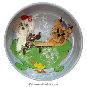 Dog Bowl (Lather Dither - Dog Bath). Ceramic Dog Bowls; Designer Dog Bowls; Cute Dog Bowls. Dog Bowls are Made in USA. Hand-painted. Lead Free. Microwave Safe. Dishwasher Safe. Food Safe. Pet Safe. Design features Yorkshire Terrier dog breed and other dogs.