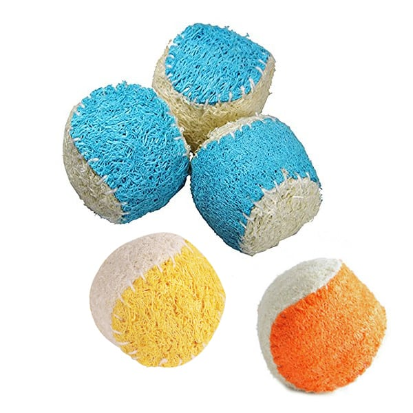 Loofah Dog Balls - Loofah Dental Toy