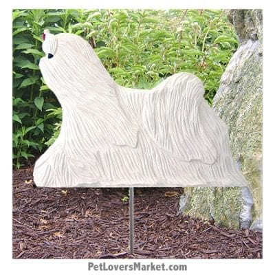 Maltese Dog Sign / Yard Sign / Garden Stake. Garden Accents and Gifts for Dog Lovers. Perfect for Home and Garden Decor. Part of our collection of yard signs and garden accents -- with dog breeds. Also use for outdoor accents, unique garden statues, garden statues online, best garden decor, garden stake decor, decorative garden stake, outdoor home accents, unique garden decor, outdoor home decor. Features Maltese dog breed.