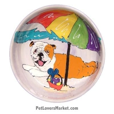 Bulldog Dog Bowl (Moe Beach Beau). Ceramic Dog Bowls; Designer Dog Bowls; Cute Dog Bowls. Dog Bowls are Made in USA. Hand-painted. Lead Free. Microwave Safe. Dishwasher Safe. Food Safe. Pet Safe. Design features Bulldog dog breed.