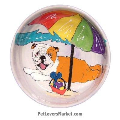 Bulldog Dog Bowl (Moe Beach Beau). Ceramic Dog Bowls; Designer Dog Bowls; Cute Dog Bowls. Dog Bowls are Made in USA. Hand-painted. Lead Free. Microwave Safe. Dishwasher Safe. Food Safe. Pet Safe. Design features Bulldog dog breed.
