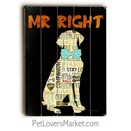 """""""Mr. Right"""" - Funny dog signs with funny dog quotes. Gifts for dog lovers. Dog print, wooden sign, wall art."""
