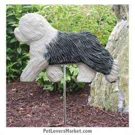 Old English Sheepdog Dog Sign / Yard Sign / Garden Stake. Garden Accents and Gifts for Dog Lovers. Perfect for Home and Garden Decor. Part of our collection of yard signs and garden accents -- with dog breeds. Also use for outdoor accents, unique garden statues, garden statues online, best garden decor, garden stake decor, decorative garden stake, outdoor home accents, unique garden decor, outdoor home decor. Features Old English Sheepdog dog breed.