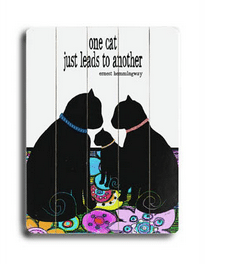 """One cat just leads to another."" Ernest Hemingway quotes - Cat Art and Gifts for Cat Lovers"