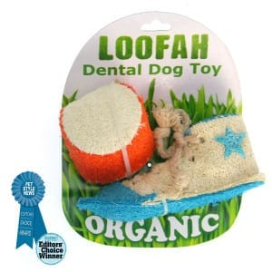 Organic All Natural Loofah Dental Dog Toy - Athletic Set (Sneaker and Ball)