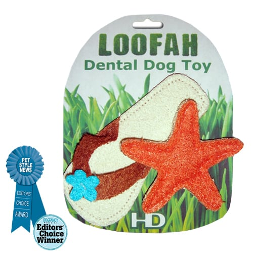 Loofah Organic All Natural Dental Dog Toy - Loofah Beach Set (Sandal and Starfish) - Cool Dog Toys