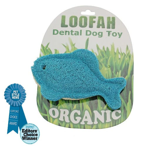Loofah Organic All Natural Dental Dog Toy - Loofah Blue Fish