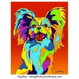 Papillon Art: Papillon Dog Painting by Michael Vistia.