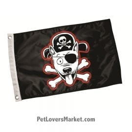 Paws Aboard Pirate Dog Flag. Dog Flag for Dog Lovers. Perfect as Garden Flags, House Flags, Boat Flags, Flagpoles. Dog on board flag.