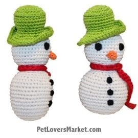 Gifts for Dogs: Frosty Snowman - organic dog toy, crochet dog toy, dog dental toy.