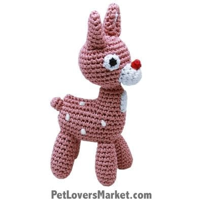 Christmas Gifts for Dogs: Reindeer - organic dog toy, crochet dog toy, dog dental toy.