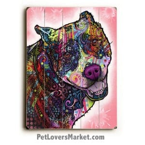 Indelible. Pitbull art, Dean Russo pitbull, Dean Russo art, dog art, dog print, dog painting, wooden sign, print on wood, wall art.
