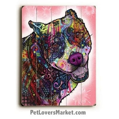 Pitbull Art (Indelible Pit Bull by Dean Russo). Dog Print / Dog Sign Featuring Pit Bull Dog Breed. Dean Russo Art, Dog Art.