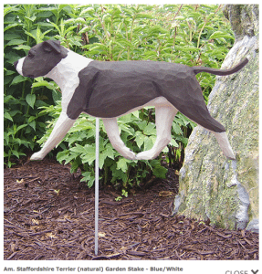 Pit Bull Statue (Blue/White). Dog Statues and Garden Statues