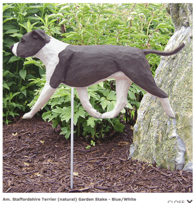Pitbull Statue (Blue/White). Dog Statues and Garden Statues