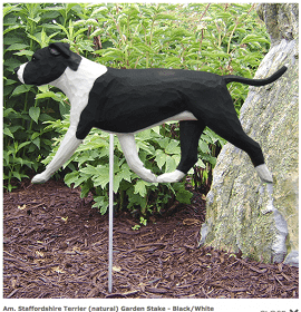 Pitbull Statue (Black/White). Dog Statues and Garden Statues