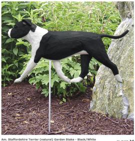 Pitbull Statue (Black/White). Dog Statues and Garden Statues